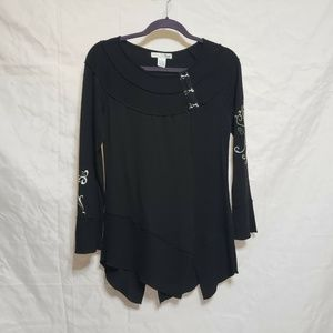 RXB Black Tunic Top Size Small LS Embroidered